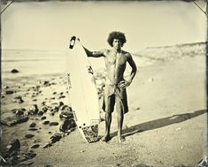 """Photographer Joni Sternbach used a technique called """"tintype"""" to make them look vintage. Vintage Surfing, Female Surfers, Look Vintage, Surfs Up, Photo Black, Black And White Pictures, Film Photography, White Photography, Photo Galleries"""