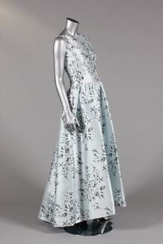 Pierre Balmain ice blue printed gazar evening gown, circa 1960,