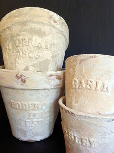 Embossed And Distressed Terra Cotta Pots | Once Again, My Dear Irene