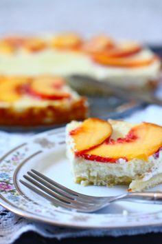 Peaches and honey greek yogurt cheesecake- lighter flavor than tradish cheesecake