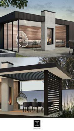 Outdoor Patio Designs, Outdoor Pergola, Outdoor Kitchen Design, Outdoor Rooms, Pergola Ideas, Outdoor Seating, Indoor Outdoor, Rooftop Terrace Design, Backyard Pavilion