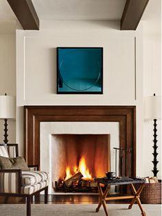 Love the 2 colours and textures around the fire place. Designer: Barbara Barry via Veranda