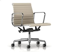 herman miller eames aluminum management chair in milky way metallic leather