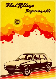 Prints available here: www.cz [link] One of my retro/car posters vector made in Corel Draw Ritmo Supermatic Fiat Panda, Original Vintage, Art Original, Poster Ads, Car Posters, Vintage Advertisements, Vintage Ads, Vintage Italian Posters, Ww2 Propaganda Posters