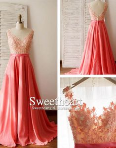 A-line round neck lace long prom dress for teens, evening dress