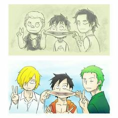 Luffy, Sabo, Ace, brothers, young, childhood, cute, different ages, time lapse, Zoro, Sanji, funny, pinching cheeks, peace signs; One Piece