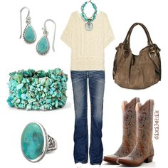 love the color combos.  Dolce vita boots, jeans, turq jewelry, cream sweater/blazer