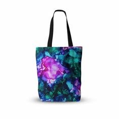 """Claire Day """"Nebula"""" Teal Multicolor Abstract Painting Everything Tote Bag - KESS InHouse  - 1"""