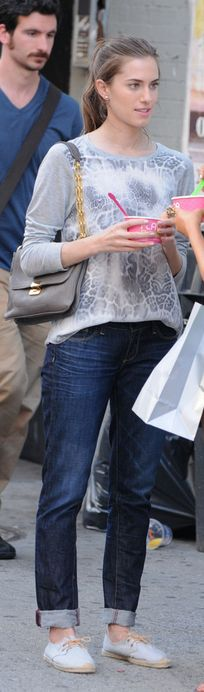 Who made Allison Williams' gray print top and lace shoes that she wore in New York?