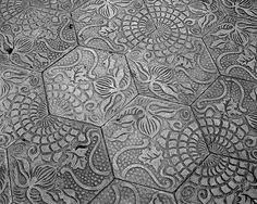 Tiles that make up some of the sidewalks in Barcelona. Nathan Kendall