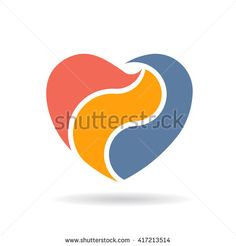 Abstract Heart in three parts Logo design. Vector illustration