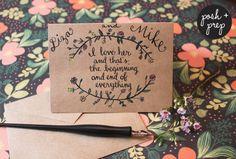 Wedding/Engagement card #poshandprep #calligraphy #wedding #love #custom #watercolor #ink