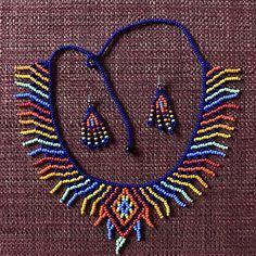 Items similar to Embera Diamond Choker and Earring Combo// Beads // Choker on Etsy Seed Bead Jewelry, Jewelry Art, Jewelry Necklaces, Beaded Necklace, Handmade Beads, Handmade Jewelry, Unique Jewelry, Beard Jewelry, Diy Collier