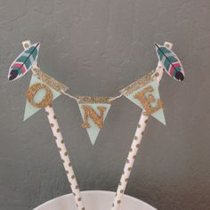 sweet one tribal cake topper in mint and gold. Perfect for a smash cake celebrating babys very special day