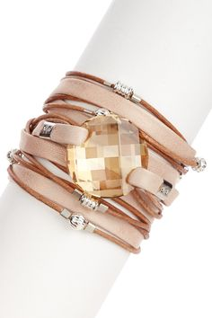 Swarovski Crystal Leather Wrap Bracelet- Cute