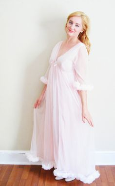 vintage 1960s pale pink peignoir set by CenturyGirl, $59.00
