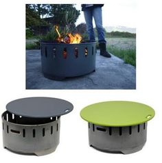 Steel Fire Ring that doubles as a coffee table with a resin-based top when not burning wood  – also produced in collaboration with Loll Designs