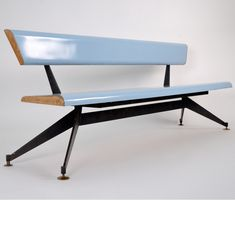 Extraordinary organic bench designed by Edoardo Paoli, manufactured in Italy in the Black lacquered metal structure, brass feet, laminated wood Design Furniture, Furniture Styles, Chair Design, Vintage Furniture, Furniture Decor, Mid Century Modern Design, Mid Century Modern Furniture, Muebles Art Deco, Piece A Vivre