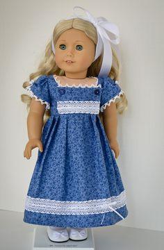 RESERVED Blue Regency Bib Front Dress. $55.00, via Etsy.