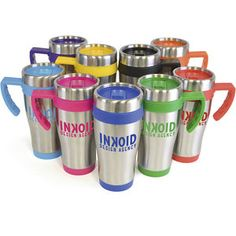Promotional Travel Mugs Uk  Oregan Travel Mug  450ml double walled stainless steel travel mug with plastic interior. Includes coloured base, handle, top band and lid. Handle is gripped for ease when holding. Screw top lid with secure slide sipper.Conforms to articles in contact with food testing.