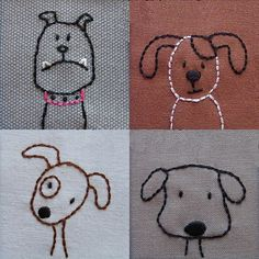 Dogs embroidery design by © Wendi Gratz 2013. PDF pattern available here, or through Craftsy.com or Etsy for 5USD$  for 6 x doggies