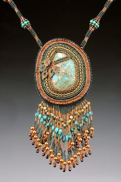 Handmade Bead Embroidery Pendant With Vintage Cabochons and Imperial Jasper Crystal Point Drop OOAK