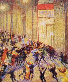 """""""Rissa in Galleria"""" (1910; """"Riot in the Gallery""""), by Umberto Boccioni. Oil on canvas; Futurism; Museo del Novecento, Milano."""