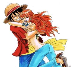 Luffy looks a bit weird.< Characters: Monkey D Luffy, Nam. luffy x nami Nami One Piece, One Piece Ship, One Piece Comic, One Piece Fanart, One Piece Anime, Watch One Piece, Luffy X Nami, Scott Pilgrim, Monkey D Luffy