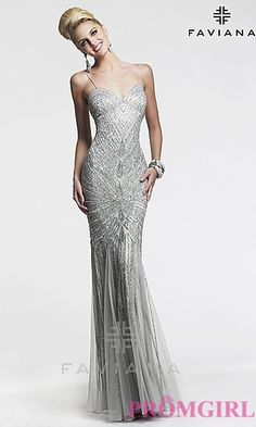 Long Sweetheart Silver Dress by Faviana at PromGirl.com, prom dress, silver dress, gatsby dress, gatsby, prom, beaded dress, floor-length dress