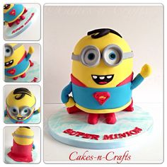 Standing super man minion!  - Standing Super man minion! Vanilla cake and edible sugar details