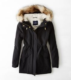 True Black AEO Cinched Surplus Parka