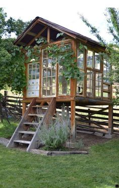 """La Maison Boheme: Spirit House Made With Recycled Windows, """"greenhouse"""" Outdoor Sheds, Outdoor Rooms, Outdoor Living, Outdoor Screens, Outdoor Office, Outdoor Patios, Shed Design, Garden Design, Roof Design"""