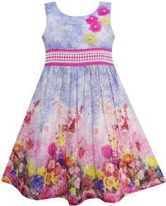 Girls Dress Tank Rose Garden Flower Print Cotton Purple Size 4-12 Years