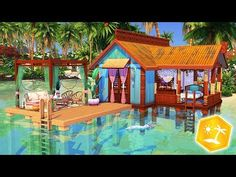 Welcome to another house building video! Today we're building a small and cute beach shack for a mermaid with the new expansion pack, The Sims Island Livi. Sims 4 Teen, Sims Four, Sims Cc, Sims 4 House Building, Sims House Plans, Sims 4 Restaurant, Restaurant Ideas, Minecraft Restaurant, Small Beach Houses