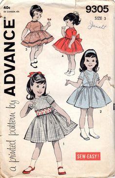 1960s Girls' Party Dress Pattern Size 3 Breast 22 by JeaniesShop
