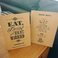 「ドリンクメニュー ワードで作って、セリアのクラフト紙に印刷しました 1テーブルに2つ置く予定です #ドリンクメニュー #クラフト紙 #セリア #花嫁DIY #結婚準備 #プレ花嫁 #wedding」