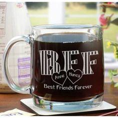 Engraved BFF Glass Mug