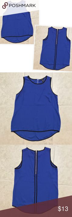 "Forever 21 Blue & Black Sheer Sleeveless Tank Top Forever 21 Blue and Black Sheer Sleeveless Tank Top  Excellent used condition! Size S (Juniors). Back zipper. 24"" top to bottom with 3"" longer in the back. 18"" armpit to armpit. 8"" arm holes. 21"" across the bottom. MSRP $25.  20% Bundle discount! Reasonable offers accepted! Smoke- & pet-free home Any questions? Just ask! Forever 21 Tops Tank Tops"