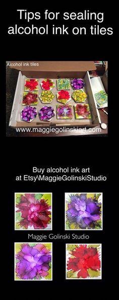 Tips on sealing alcohol ink tiles alcoholinkart alcoholink alcoholinkontile maggiegolinskistudi functionalart abstractart Tile Crafts, Fun Crafts, Diy And Crafts, Crafts For Kids, Arts And Crafts, Paper Crafts, Alcohol Ink Tiles, Alcohol Ink Crafts, Alcohol Ink Painting