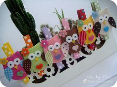 Prendedores decorados corujinhas