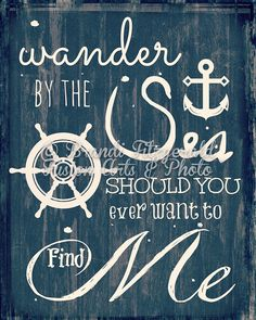 Wander By The Sea.  Beach Quote Nautical Decor as seen on Zulily. Choose Lustre Print, Canvas or Bamboo Mount
