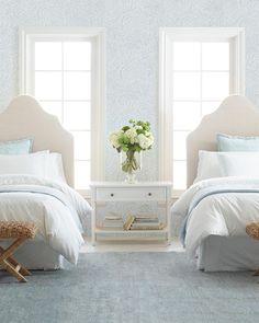 Beautiful botanicals bring romance to this serene space. #serenaandlily #bedroominspo