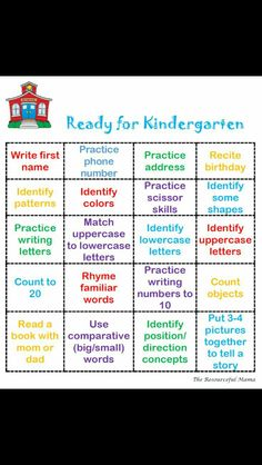 Ready for Kindergarten Bingo This is an easy printable to put into a Getting Ready for Kindergarten Packet that you can share in your kindergarten round up materials or what you send home over summer to welcome your newbies. Ready for Kindergarten Bingo Preschool Assessment, Preschool Prep, Preschool Learning Activities, Preschool At Home, Preschool Lessons, 5 Year Old Activities, Homeschool Preschool Curriculum, Preschool Themes By Month, Easy Peasy Homeschool
