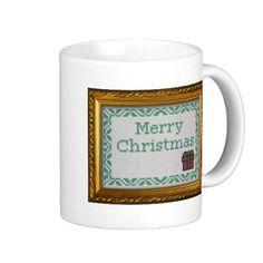 Cross Stitch merry christmas Coffee Mugs