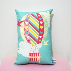Hot Air Balloon Cushion by tigesandweince on Etsy Valentine's Day Emoji, Kids Pillows, Throw Pillows, Stix And Stones, Cloud Party, Little Girl Rooms, Wooden Letters, Decorative Cushions, Hot Air Balloon