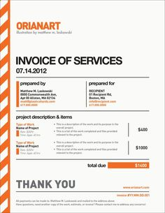 Orange Invoice #invoice #design