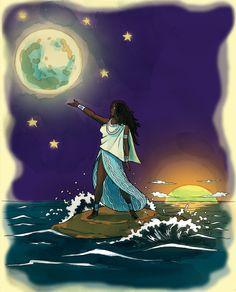 Black Women Art, Black Art, Yemaya Orisha, Yoruba, Artist Names, Any Images, Spiritual Awakening, Mother Earth, Female Art
