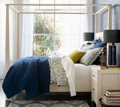 Shop Pottery Barn for bedroom sets featuring timeless style and beauty. Find bedroom furniture crafted with exceptional workmanship in quality materials and finishes. Bed Sheets Online, Cheap Bed Sheets, Bedding Sets Online, Luxury Bedding Sets, Bedroom Sets, Home Bedroom, Bedroom Decor, Master Bedrooms, Bed Weather