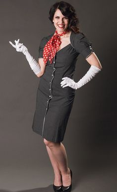 """Miss L and 40's Flair Daytime Dress """"Welcome aboard!"""" http://www.misswindyshop.com/mekot"""