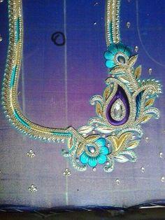 Sri Dhanalaxmi Maggam Works - Google+ Silk Saree Blouse Designs, Bridal Blouse Designs, Blouse Neck Designs, Blouse Patterns, Aari Embroidery, Hand Embroidery Designs, Hand Work Blouse Design, Maggam Work Designs, Sari Design